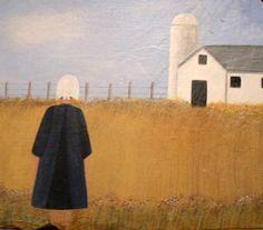Original Folk Art Painting Amish Girl