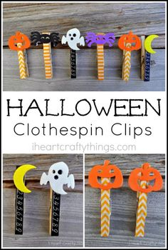 Make cute Halloween Clothespin Clips for decorations or to hang up your kids Halloween crafts.
