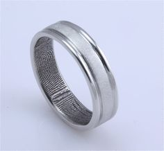 Sterling Silver Custom Fingerprint Wedding or Commitment Band with Double Polished Sides and Flat Matte Center