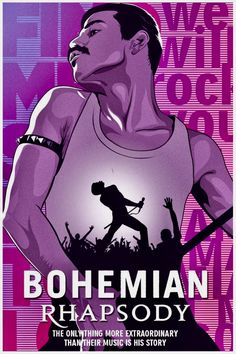 """""""Bohemian Rhapsody"""", Directed by Bryan Singer. The story of the legendary rock band Queen and lead singer Freddie Mercury, leading up to their famous performance at Live Aid Rock Posters, Band Posters, Film Posters, Queen Freddie Mercury, Rock And Roll, Bambi Disney, Queen Poster, Plakat Design, Queen Art"""