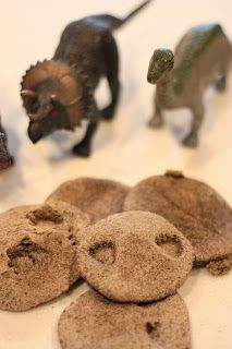 We're kicking off our thematic unit on digging up Dinosaurs by making fossils using recycled coffee grounds.  Besides being fun to make, these will be