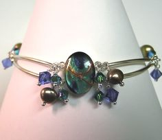 Sterling Silver, Gemstone, Resin Bracelet-bracelet, sterling, silver, resin, blue, gold, art, pearl, freshwater, swarovksi crystal, chain, tube $55