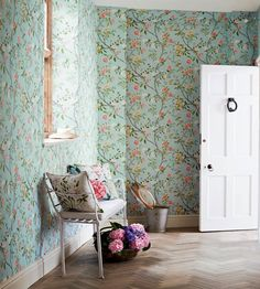 Nostell Priory Blue Wallpaper from Zoffany Woodville Wallpapers Collection. A floral wallpaper printed with flowing branches with an abundance of flowers and foliage on a blue background. Zoffany Wallpaper, Chinoiserie Wallpaper, Gold Wallpaper, Print Wallpaper, Chinoiserie Chic, Sky Pink, Childrens Bedroom Wallpaper, Classic Wallpaper, Nina Campbell