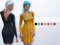 SILK JERSEY WRAP DRESS at Leeloo via Sims 4 Updates