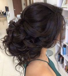 Classic loose curly low updo wedding hairstyle; Featured Hairstyle: ElStyle #weddinghairstyles