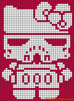 Storm trooper hello kitty perler pattern!