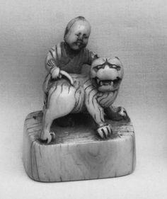 Netsuke of Boy with Dog Date: 19th century Culture: Japan Medium: Ivory
