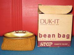Retro Gold Color  DUK IT Bean Bag Ashtray in original duck box.