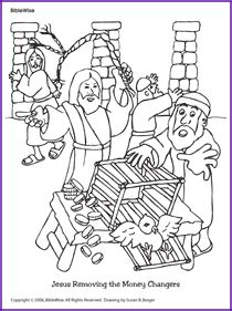 Jesus and Money Changers Coloring Page  Kids Korner  BibleWise