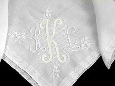 HANKIE LINEN Wedding Madeira Embroidered Monogram Applique VINTAGE