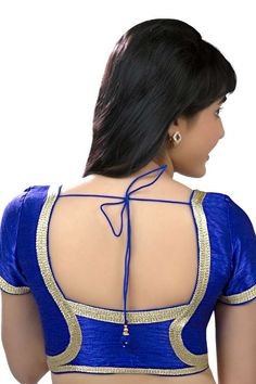 Royal #blue festive wear raw #silk #blouse with back blunt square neck -BL641