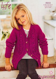 Cardigan in Stylecraft Life Aran (8933) | Girls Knitting Patterns | Knitting Patterns | Deramores