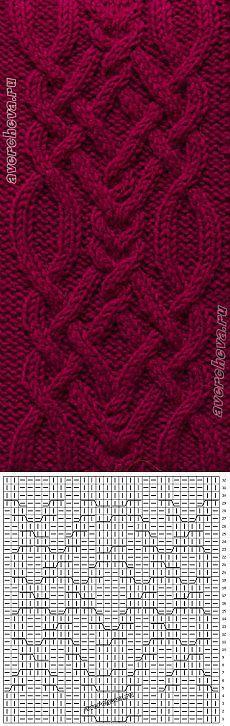Cable chart pattern узор 369 коса шириной 28 петель | каталог вязаных спицами узоров