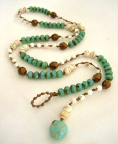 Items similar to Knotted Necklace, Turquoise Picasso, Ivory & Copper, Knotted Boho Wrap Bracelet, Handmade in France on Etsy Jewelry Knots, Wire Jewelry, Boho Jewelry, Beaded Jewelry, Jewelry Bracelets, Jewelery, Jewelry Design, Knot Necklace, Beaded Necklace