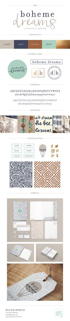 Boheme Dreams Brand Design by Wild Side Design Co. Design Typo, Web Design, Brand Identity Design, Graphic Design Branding, Blog Design, Brand Design, Webdesign Inspiration, Graphic Design Inspiration, Home Decor Colors