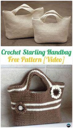 Crochet Starling Handbag Free Pattern [Video] - Handbag Free Patterns by Rose Sanders # crochet handbags free patterns totes Crochet Handbag Free Patterns & Instructions Crochet Purse Patterns, Crochet Tote, Crochet Handbags, Crochet Purses, Diy Crochet, Crochet Crafts, Crochet Hooks, Crochet Projects, Bag Patterns