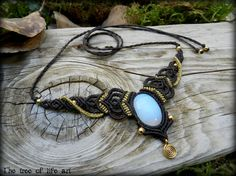 Magical macrame necklace with Opalite stone & brass beads/Tribal macrame/Ethnic Jewelry/Festival Jewelry/Spiral necklace/Micromacrame/Gift