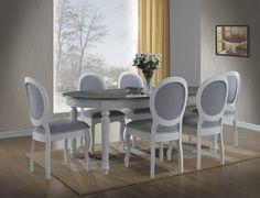 Masa extensibila care te intoarce in trecut! Dar te tine in prezent! Design rafinat si modern! Table, Chair, Furniture, Dining Chairs, White Living, Interior Design, Home Decor, Dining Table, Outdoor Furniture Sets