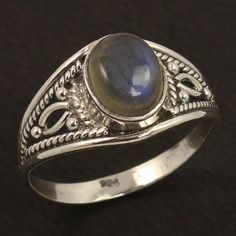 925 Sterling Silver Handcrafted Ring Size US 9 Natural Fire LABRADORITE Gemstone #Unbranded