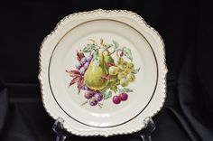 Vintage Porcelain Hand Painted Fruit Design Collectors Plate by BigBlossomAntiques on Etsy