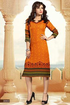 Adorn your beauty by cladding into this gorgeous orange color printed casual wear pashmina kurti. This casual kurti is an ideal attire for office and casual gat