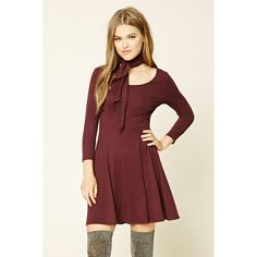 b94c1f57db Forever21 Stretch-Knit Skater Dress ( 9.90) ❤ liked on Polyvore featuring  dresses