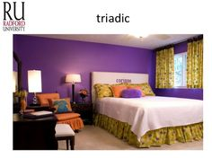 this room portrays the triadic color scheme with mustard yellow that compliments the royal purple walls. The warm oranges in the room keeps the room balanced