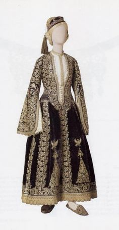 Costume of a noblewoman from Greece. Late-Ottoman style from the Balkans, century. Greek Traditional Dress, Traditional Outfits, Urban Apparel, Medieval Costume, Folk Costume, Historical Costume, Historical Clothing, Urban Outfits, Fashion Outfits