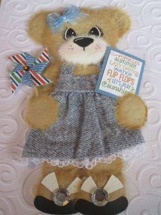 Pinwheel Girl Tear Bear Paper Piecing Baby Scrapbooking Embellishment Mulberry  #Scrapbooking