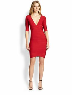 Sexy Fitted  V-Neck Natural Waistline Cocktail Bandage  Dress With a Bow(s)