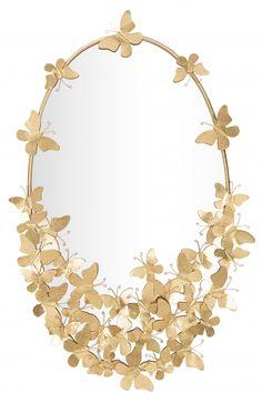 Oglinda decorativa de perete ovala Butterfly aurie H89,5cm Modern, Jewelry, Trendy Tree, Jewlery, Bijoux, Jewerly, Jewelery, Jewels, Accessories