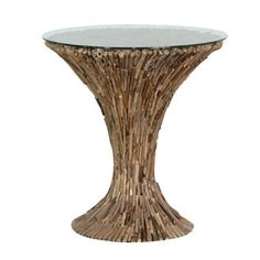 Round Driftwood End Table