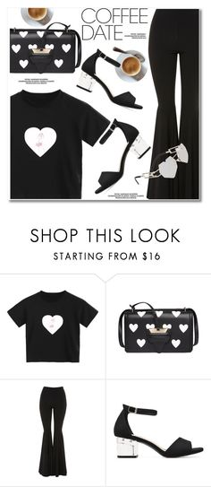 """Buzz-Worthy: Coffee Date"" by paculi ❤ liked on Polyvore featuring Topshop, hearts, black, CoffeeDate and statementbags"