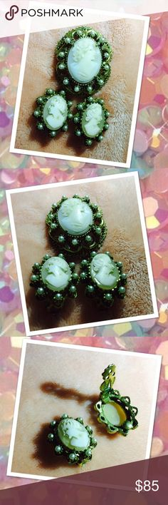 1940's SIGNED FLORENZA CAMEO 3 PIECE SET 1940's shell cameo set by Florenza set. Brooch can be worn as a pendant. Earring are clip-ons. Brooch measure 1 1/2x 1 1/2Earrings measure 1x1. All proceeds go to medical to my son Robert. His page on FB is Chronicles of Robert. Remember the more that you wear a cameo the clearer it gets. This has been packed away since my great grandmother wore it as the school secretary. Florenza Jewelry Brooches