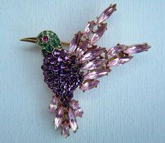 CrownTrifari 'Alfred Philippe' Emerald Amethyst and Pink Topaz Hummingbird brooch