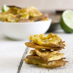 Simple Plantain Chips. Gluten free, vegan and a great source of beta carotene, potassium and fiber.