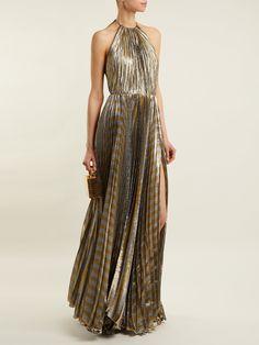 Pleated silk-blend lamé halterneck gown | Maria Lucia Hohan | MATCHESFASHION.COM