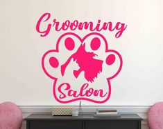 Dog Grooming Shop, Dog Grooming Salons, Animal Wall Decals, Vinyl Wall Decals, Cat Stickers, Textured Walls, Sticker Design, Dog Cat, At Least