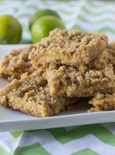Key Lime Crumble bars. A buttery crust and topping with a creamy, tart lime center ohsweetbasil.com
