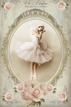 Vintage ballerina printable digital collage p1022. pale pink roses in each corner, ecru frame, French ad.