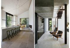 I materiali utilizzati sono naturali di provenienza locale. A sinistra è visibile la cucina in continuità con la zona pranzo. A destra il patio coperto