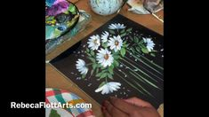 Black Canvas Paintings, Simple Acrylic Paintings, Decorative Paintings, Daisy Painting, Oil Painting Flowers, Tole Painting, Small Canvas Art, Impressionist Art, Flower Art