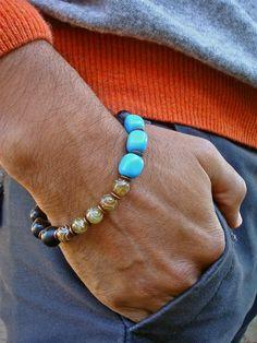 Men's Spiritual Protection, Serenity, Fortune Bracelet with Semi Precious Carved Amber Jade, Matte Onyx, Blue Jasper - Bohemian Man Bracelet