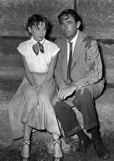"Audrey Hepburn & Gregory Peck on the set of ""Roman Holiday"" after the water scene.  ☆「ローマの休日」、水に濡れるシーン撮影直後のオードリー・ヘプバーンとグレゴリー・ペック。"