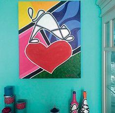 wandgestaltung wohnideen wandgemälde pop art wandfarbe türkis
