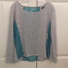 Long sleeve shirt Gray long sleeve shirt with blue lace back and sides American Eagle Outfitters Tops Tees - Long Sleeve