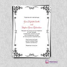 FREE PDF Invitations. Retro Border Wedding Invitation. Easy to edit and print at home.