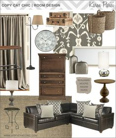 Love the variety of textures, the rustic suitcases and the baskets for storage.