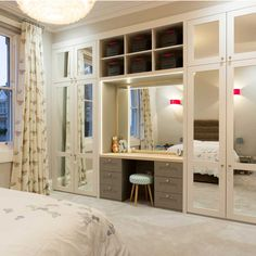 We crafted a series of bespoke storage solutions in this gorgeous Georgian home, including bespoke wine storage, a utility room and fitted wardrobes. Bedroom Built In Wardrobe, Bedroom Built Ins, Fitted Bedroom Furniture, Fitted Bedrooms, Wardrobe Doors, Wardrobe With Dressing Table, Built In Dressing Table, Wadrobe Design, Bedroom Cupboards