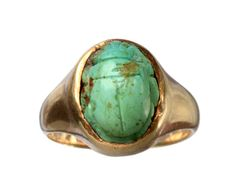 1918 Scarab Ring, 10K Gold, Glass: Erie Basin Antiques